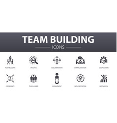 Team building simple concept icons set contains vector