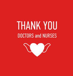 thank you doctors and nurses hand drawn vector image