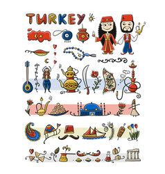travel to turkey icons set for your design vector image