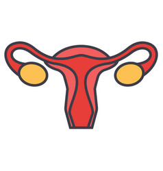 Uterus female gynecology concept line vector