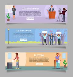 Voting web banner template set flat vector