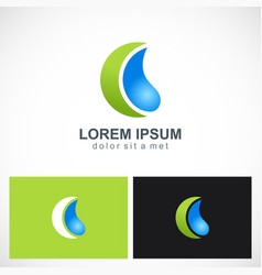 water drop abstract ecology logo vector image