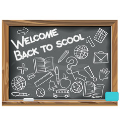 Welcome back to school written chalk on a vector