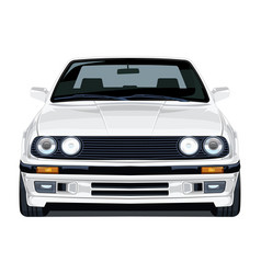 White car 80s front agle vector