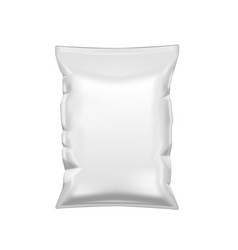 White crumpled packet of chips plastic package vector