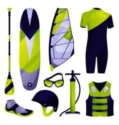 Windsurfing equipment sport tool set icon vector