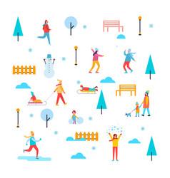 Wintertime outdoor activities vector