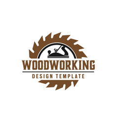 Woodworking gear logo design template element vector