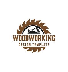 Woodworking gear logo design template element vector
