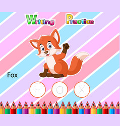Worksheet writing practice alphabet f for fox vector
