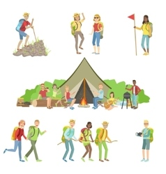 Young Friends On Hiking Trip Set vector