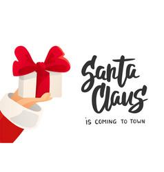 christmas card santa claus is coming text vector image vector image
