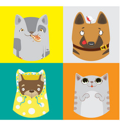 collection of funny dogs and cats vector image