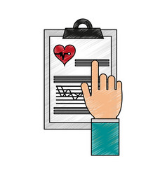 Color pencil cartoon hand pointing a table notepad vector
