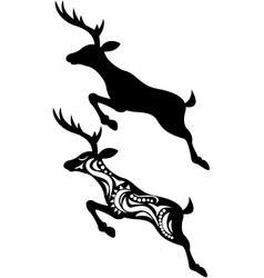 Deer jumping silhouette vector image vector image
