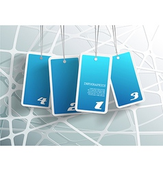 Four hanging blue cards You can place your own vector image vector image
