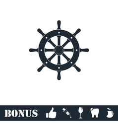 Rudder icon flat vector image vector image