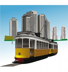 city and tram vector image vector image