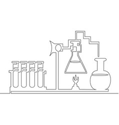 continuous line chemical lab retorts vector image