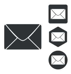 Letter icon set monochrome vector image