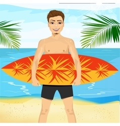 Professional surfer holding a surf board vector