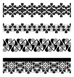Set of seamless lace borders vector image vector image