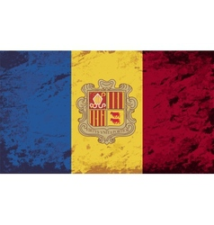 Andorran flag Grunge background vector image