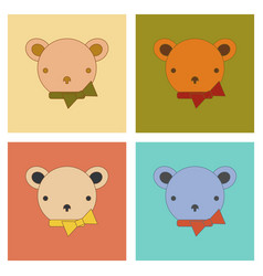 assembly flat icons kids toy bear vector image
