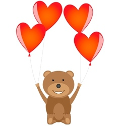 Bear with red heart balloons vector image vector image