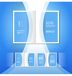 booklet design template blue curve bend line vector image vector image