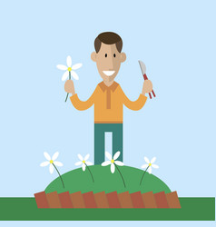 gardener cut flowers vector image