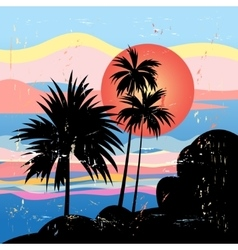 Graphics tropical landscape with palm trees vector image