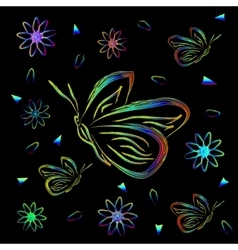 Greeting card with flowers and butterflies in neon vector image vector image