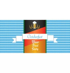 Oktoberfest beer festival with white ribbon vector image vector image
