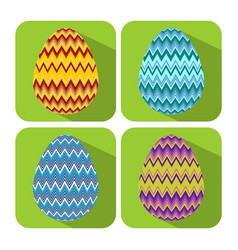 set if icons with chevron decorated egg flat vector image