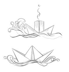 sketch of hand drawn ship vector image vector image