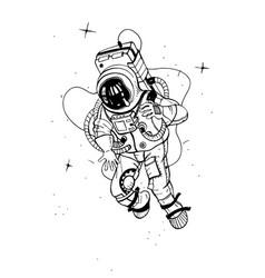 astronaut in spacesuit cosmonaut into space on vector image