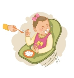 Baby girl in the baby chair refuses to eat pap vector image