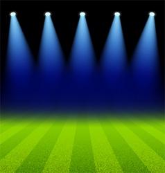 Bright spotlights illuminated green soccer field vector image vector image