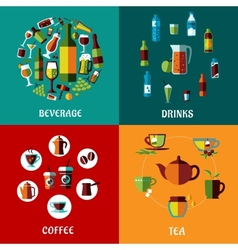 Drinks and beverages flat compositions vector image