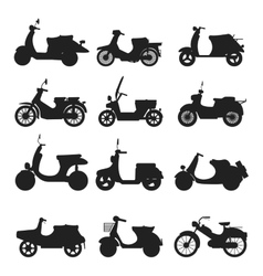 Retro scooter silhouette vector image