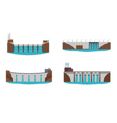 Set of hydro power plant vector