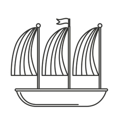 Ship sailboat maritime icon vector