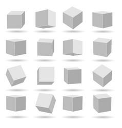 white cubes blocks models vector image