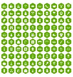 100 family tradition icons hexagon green vector image