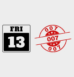 13th friday calendar page icon and distress vector image