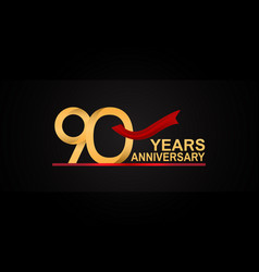 90 years anniversary design with red ribbon vector