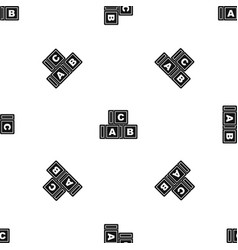 Abc cubes pattern seamless black vector