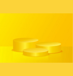 Abstract yellow mock up composition with podium vector