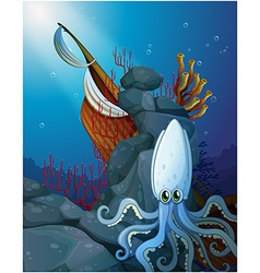 An octopus under the sea near the wooden boat vector